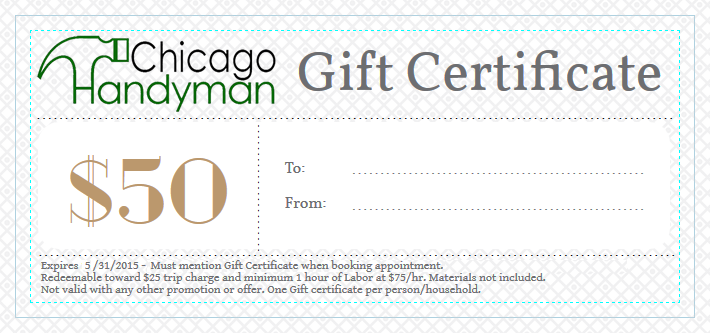 Chicago Handyman Gift Certificate 50