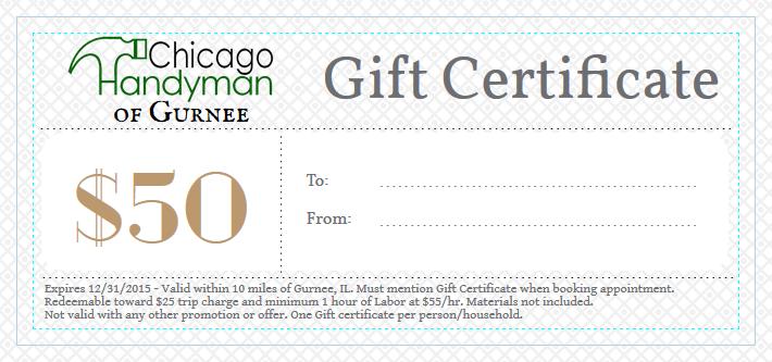 Gurnee Handyman Gift Certificate
