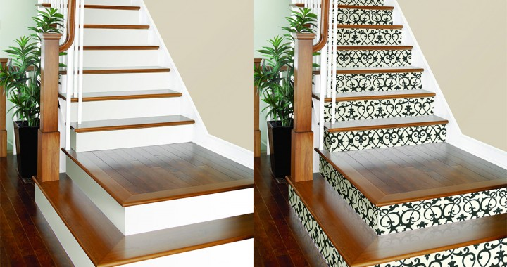 Revamp any set of stairs with this simple wallpaper - Alfombras para escaleras ...