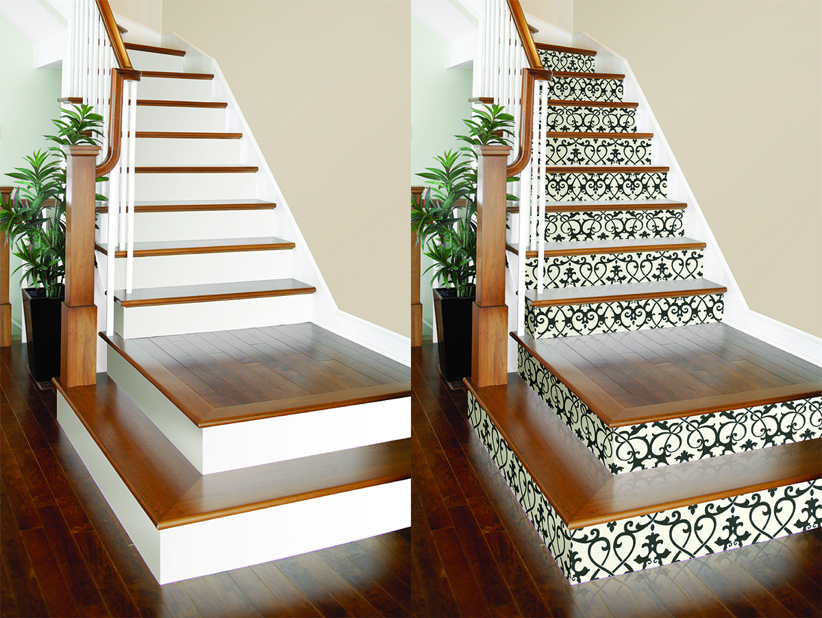 Revamp Any Set Of Stairs With This Simple Wallpaper